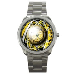 Incredible Eye Of A Yellow Construction Robot Sport Metal Watch by jayaprime