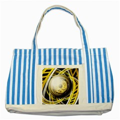Incredible Eye Of A Yellow Construction Robot Striped Blue Tote Bag by jayaprime