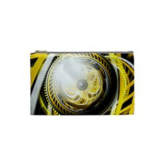 Incredible Eye Of A Yellow Construction Robot Cosmetic Bag (small)  by beautifulfractals