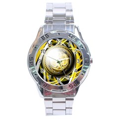 Incredible Eye Of A Yellow Construction Robot Stainless Steel Analogue Watch by jayaprime