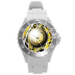 Incredible Eye Of A Yellow Construction Robot Round Plastic Sport Watch (l) by jayaprime