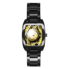 Incredible Eye Of A Yellow Construction Robot Stainless Steel Barrel Watch by jayaprime