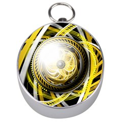 Incredible Eye Of A Yellow Construction Robot Silver Compasses by beautifulfractals