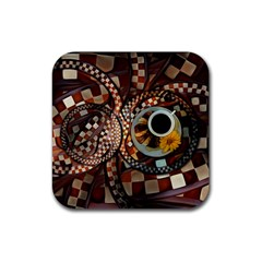 Midnight Never Ends, A Red Checkered Diner Fractal Rubber Square Coaster (4 Pack)  by beautifulfractals