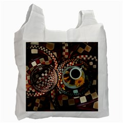 Midnight Never Ends, A Red Checkered Diner Fractal Recycle Bag (two Side)  by jayaprime