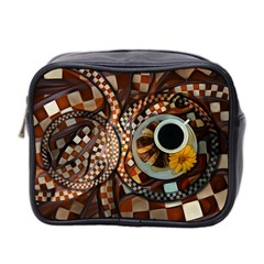 Midnight Never Ends, A Red Checkered Diner Fractal Mini Toiletries Bag 2 Side by beautifulfractals