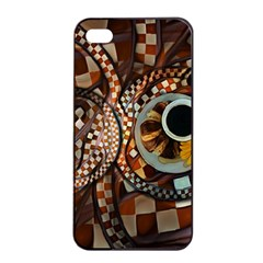 Midnight Never Ends, A Red Checkered Diner Fractal Apple Iphone 4/4s Seamless Case (black) by jayaprime