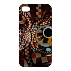 Midnight Never Ends, A Red Checkered Diner Fractal Apple Iphone 4/4s Hardshell Case by jayaprime