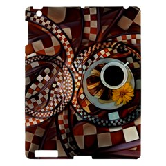 Midnight Never Ends, A Red Checkered Diner Fractal Apple Ipad 3/4 Hardshell Case by jayaprime
