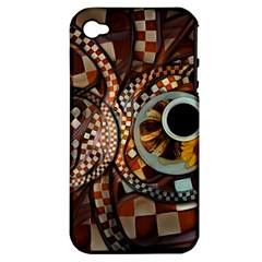 Midnight Never Ends, A Red Checkered Diner Fractal Apple Iphone 4/4s Hardshell Case (pc+silicone) by jayaprime