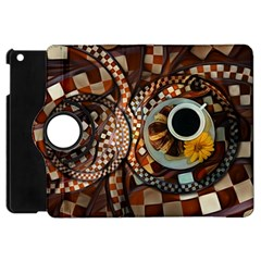 Midnight Never Ends, A Red Checkered Diner Fractal Apple Ipad Mini Flip 360 Case by jayaprime