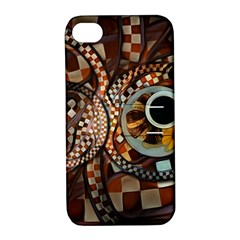 Midnight Never Ends, A Red Checkered Diner Fractal Apple Iphone 4/4s Hardshell Case With Stand by jayaprime
