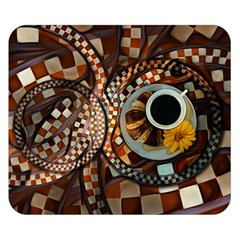 Midnight Never Ends, A Red Checkered Diner Fractal Double Sided Flano Blanket (small)  by jayaprime