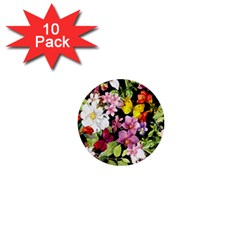 Beautiful,floral,hand Painted, Flowers,black,background,modern,trendy,girly,retro 1  Mini Buttons (10 Pack)  by 8fugoso