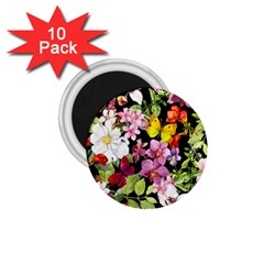 Beautiful,floral,hand Painted, Flowers,black,background,modern,trendy,girly,retro 1 75  Magnets (10 Pack)  by 8fugoso