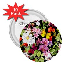 Beautiful,floral,hand Painted, Flowers,black,background,modern,trendy,girly,retro 2 25  Buttons (10 Pack)  by 8fugoso