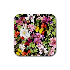 Beautiful,floral,hand Painted, Flowers,black,background,modern,trendy,girly,retro Rubber Square Coaster (4 Pack)  by 8fugoso