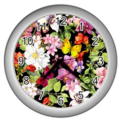 Beautiful,floral,hand Painted, Flowers,black,background,modern,trendy,girly,retro Wall Clocks (silver)  by 8fugoso