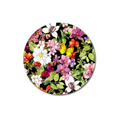 Beautiful,floral,hand Painted, Flowers,black,background,modern,trendy,girly,retro Magnet 3  (round) by 8fugoso