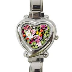 Beautiful,floral,hand Painted, Flowers,black,background,modern,trendy,girly,retro Heart Italian Charm Watch by 8fugoso