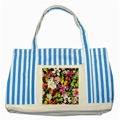 Beautiful,floral,hand Painted, Flowers,black,background,modern,trendy,girly,retro Striped Blue Tote Bag by 8fugoso