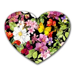 Beautiful,floral,hand Painted, Flowers,black,background,modern,trendy,girly,retro Heart Mousepads by 8fugoso
