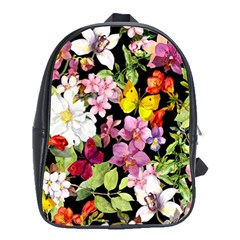 Beautiful,floral,hand Painted, Flowers,black,background,modern,trendy,girly,retro School Bag (large)