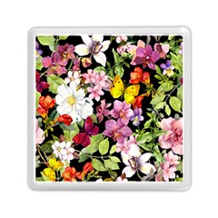 Beautiful,floral,hand Painted, Flowers,black,background,modern,trendy,girly,retro Memory Card Reader (square)  by 8fugoso