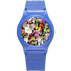 Beautiful,floral,hand Painted, Flowers,black,background,modern,trendy,girly,retro Round Plastic Sport Watch (s) by 8fugoso