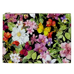 Beautiful,floral,hand Painted, Flowers,black,background,modern,trendy,girly,retro Cosmetic Bag (xxl)  by 8fugoso