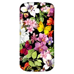 Beautiful,floral,hand Painted, Flowers,black,background,modern,trendy,girly,retro Samsung Galaxy S3 S Iii Classic Hardshell Back Case by 8fugoso