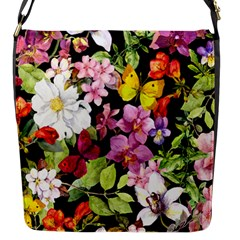 Beautiful,floral,hand Painted, Flowers,black,background,modern,trendy,girly,retro Flap Messenger Bag (s) by 8fugoso