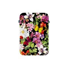 Beautiful,floral,hand Painted, Flowers,black,background,modern,trendy,girly,retro Apple Ipad Mini Protective Soft Cases by 8fugoso