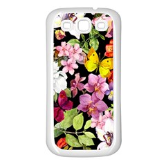 Beautiful,floral,hand Painted, Flowers,black,background,modern,trendy,girly,retro Samsung Galaxy S3 Back Case (white) by 8fugoso