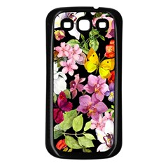 Beautiful,floral,hand Painted, Flowers,black,background,modern,trendy,girly,retro Samsung Galaxy S3 Back Case (black) by 8fugoso