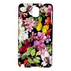 Beautiful,floral,hand Painted, Flowers,black,background,modern,trendy,girly,retro Samsung Galaxy Note 3 N9005 Hardshell Case by 8fugoso