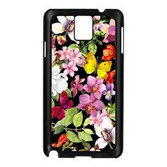 Beautiful,floral,hand Painted, Flowers,black,background,modern,trendy,girly,retro Samsung Galaxy Note 3 N9005 Case (black) by 8fugoso