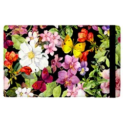 Beautiful,floral,hand Painted, Flowers,black,background,modern,trendy,girly,retro Apple Ipad Pro 12 9   Flip Case by 8fugoso