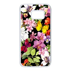 Beautiful,floral,hand Painted, Flowers,black,background,modern,trendy,girly,retro Samsung Galaxy S7 White Seamless Case by 8fugoso