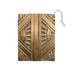 Art Deco Gold Door Drawstring Pouches (medium)  by 8fugoso