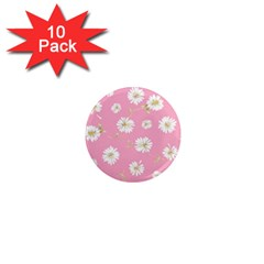 Pink Flowers 1  Mini Magnet (10 Pack)  by 8fugoso