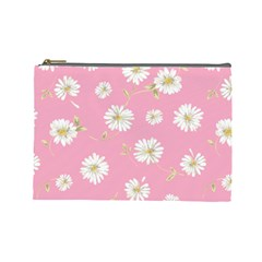 Pink Flowers Cosmetic Bag (large)  by 8fugoso