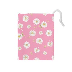 Pink Flowers Drawstring Pouches (medium)  by 8fugoso