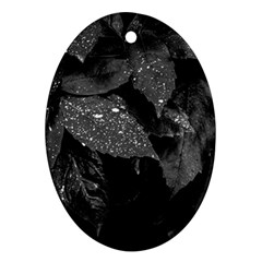 Black And White Leaves Photo Ornament (oval) by dflcprintsclothing