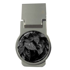 Black And White Leaves Photo Money Clips (round)  by dflcprintsclothing