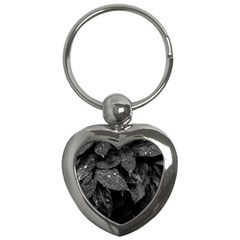 Black And White Leaves Photo Key Chains (heart)  by dflcprintsclothing