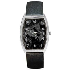 Black And White Leaves Photo Barrel Style Metal Watch by dflcprintsclothing