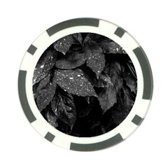 Black And White Leaves Photo Poker Chip Card Guard by dflcprintsclothing