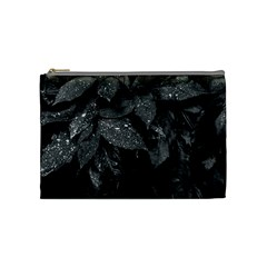Black And White Leaves Photo Cosmetic Bag (medium)