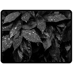 Black And White Leaves Photo Fleece Blanket (large)  by dflcprintsclothing